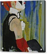 Seated Lady Clown Acrylic Print by Joanne Claxton