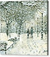 Snowing In The Park Acrylic Print by Kalen Malueg