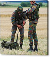 Soldiers Of The Belgian Army Acrylic Print by Luc De Jaeger