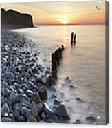 Sunset At The Remains Of Lilstock Pier Acrylic Print by Nick Cable