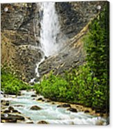 Takakkaw Falls Waterfall In Yoho National Park Canada Acrylic Print by Elena Elisseeva