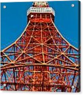 Tokyo Tower Faces Blue Sky Acrylic Print by Ulrich Schade