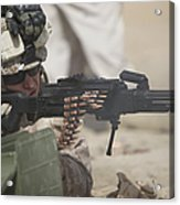 U.s. Marine Firing A Pk 7.62mm Machine Acrylic Print by Terry Moore