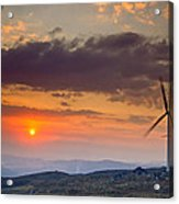 Wind Turbines At Sunset Acrylic Print by Andre Goncalves