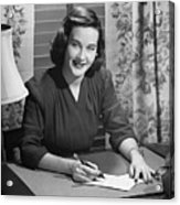 Young Woman Writing Letter At Desk, (b&w) Acrylic Print by George Marks