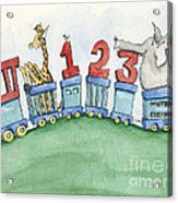 123 Animal Train Acrylic Print by Annie Laurie