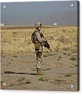 U.s. Marine Patrols A Wadi Near Kunduz Acrylic Print by Terry Moore