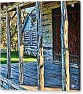 1860 Log Cabin Porch Acrylic Print by Linda Phelps