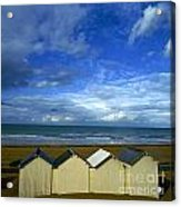 Beach Huts Under A Stormy Sky In Normandy Acrylic Print by Bernard Jaubert