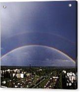 Double Rainbow Over A Town Acrylic Print by Pekka Parviainen