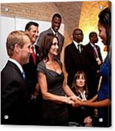 First Lady Michelle Obama Greets Acrylic Print by Everett