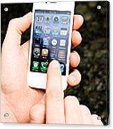 Hands Holding An Iphone Acrylic Print by Photo Researchers, Inc.