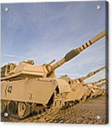 M1 Abrams Tanks At Camp Warhorse Acrylic Print by Terry Moore