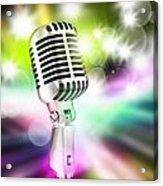 Microphone On Stage Acrylic Print by Setsiri Silapasuwanchai