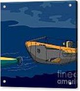 Submarine Boat Retro Acrylic Print by Aloysius Patrimonio
