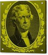 Thomas Jefferson In Yellow Acrylic Print by Rob Hans