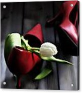 White And Red Acrylic Print by Joana Kruse