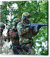 Belgian Paratroopers Proceeding Acrylic Print by Luc De Jaeger