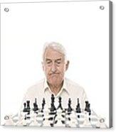 Senior Man Playing Chess Acrylic Print by