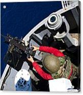 A Sailor Fires A .50-caliber Machine Acrylic Print by Stocktrek Images