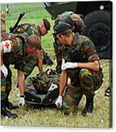 Soldiers Of A Belgian Infantry Unit Acrylic Print by Luc De Jaeger