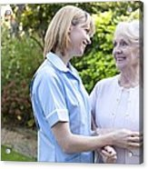 Nurse On A Home Visit Acrylic Print by