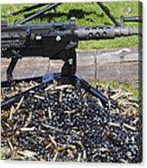 A .50 Caliber Browning Machine Gun Acrylic Print by Andrew Chittock