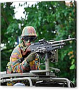 A Belgian Army Soldier Handling Acrylic Print by Luc De Jaeger