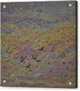 A Close-up Of A Parking Lot Oil Slick Acrylic Print by Joel Sartore
