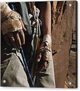 A Close View Of Rock Climber Becky Acrylic Print by Bill Hatcher