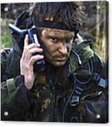 A Dutch Patrol Commander Communicates Acrylic Print by Andrew Chittock