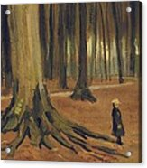 A Girl In A Wood Acrylic Print by Vincent van Gogh