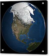 A Global View Over North America Acrylic Print by Stocktrek Images