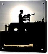 A Gunner Mans An Mk-19 40mm Machine Gun Acrylic Print by Stocktrek Images