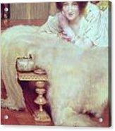 A Listener - The Bear Rug Acrylic Print by Sir Lawrence Alma-Tadema