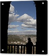 A Man Looks Out Of Ajloun Castle Acrylic Print by Taylor S. Kennedy