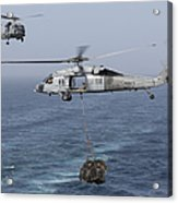 A Mh-60s Knighthawk Transfers Cargo Acrylic Print by Gert Kromhout