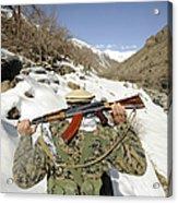 A Mujahadeen Guard Walks With U.s Acrylic Print by Stocktrek Images