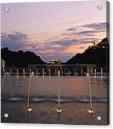 A Night View Of Memorial Plaza Acrylic Print by Richard Nowitz
