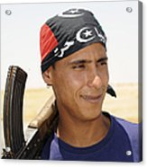 A Rebel Fighter With An Ak-47 Assault Acrylic Print by Andrew Chittock