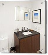 A Restroom Or Bathroom. Toilet Acrylic Print by Christian Scully