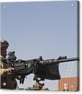 A Royal Marine Manning A .50 Caliber Acrylic Print by Andrew Chittock