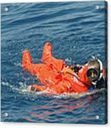 A Sailor Rescued By A Diver Acrylic Print by Stocktrek Images