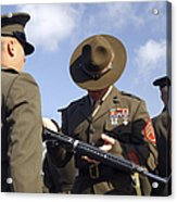 A Senior Drill Instructor Inspects Acrylic Print by Stocktrek Images
