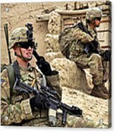 A Soldier Calls In Description Acrylic Print by Stocktrek Images