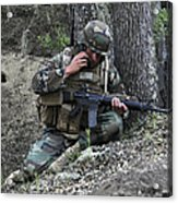 A Soldier Communicates His Position Acrylic Print by Stocktrek Images