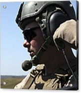A Soldier Keeps In Radio Contact Acrylic Print by Stocktrek Images