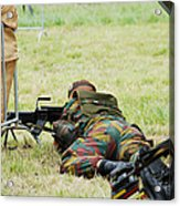 A Soldier Of The Belgian Army On Guard Acrylic Print by Luc De Jaeger
