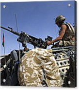 A Soldier Of The British Army Mans Acrylic Print by Andrew Chittock