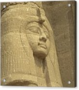 A Statue Of Nefertari At The Entrance Acrylic Print by Richard Nowitz